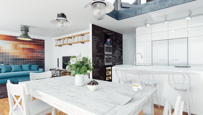 3d odpłacają się wizerunek piękny biały wewnętrzny pokój, skandynawa styl ilustracji