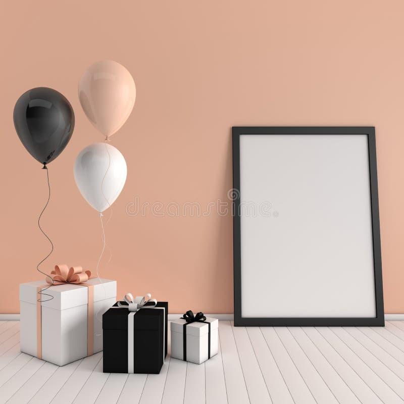 3d odpłacają się wnętrze z realistycznymi balonami i prezenta pudełkiem z łękiem, plakatowy mockup w pokoju Opróżnia przestrzeń d royalty ilustracja