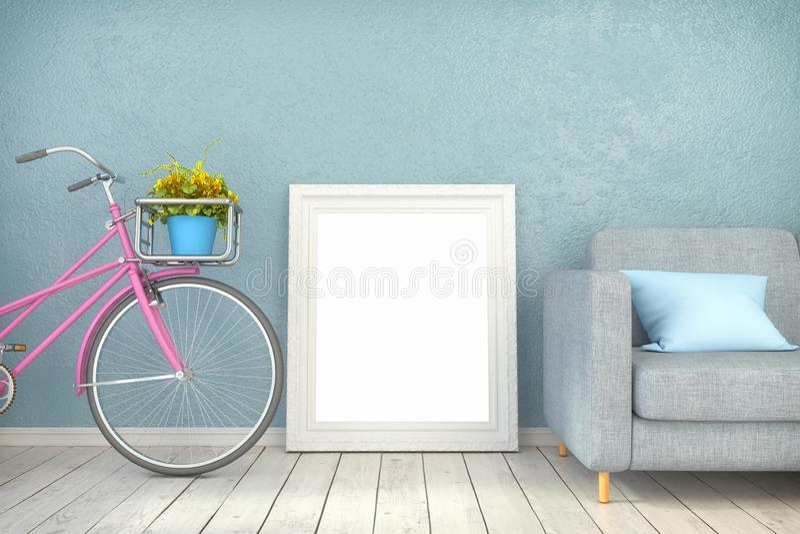 3d odpłacają się - wyśmiewa w górę plakata w żywym pokoju ilustracja wektor