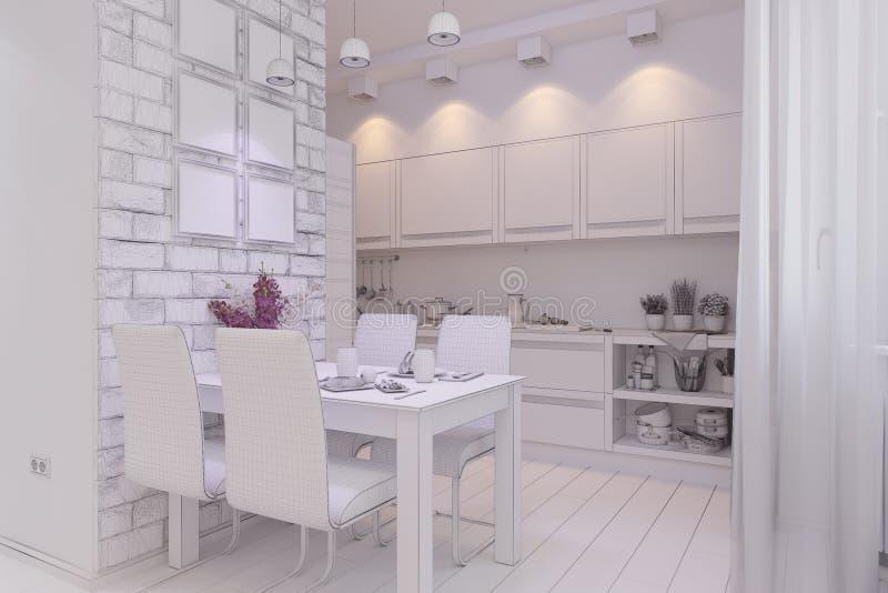3d odpłacają się Żywy pokój z kuchennym wewnętrznym projektem w moder ilustracja wektor
