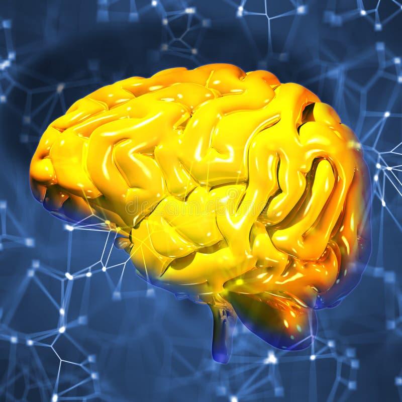 3d odpłacają się złoty ludzki mózg royalty ilustracja