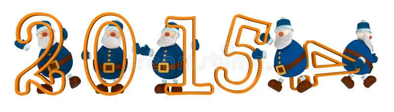 3D odpłacają się z rokiem 2015 z cyframi trzymać cartoony starymi człowiekami ubierającymi w błękicie zdjęcie royalty free