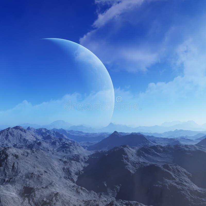 3d odpłacająca się Astronautyczna sztuka: Obca planeta - fantazja krajobraz z niebieskimi niebami i chmurami ilustracja wektor