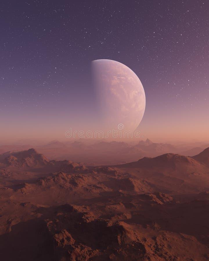 3d odpłacająca się Astronautyczna sztuka: Obca planeta - fantazja krajobraz z wieczór gwiazdami i niebem ilustracji