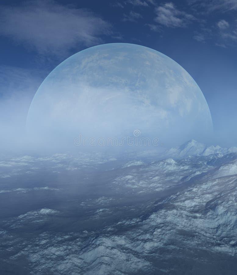 3d odpłacająca się Astronautyczna sztuka: Obca planeta w śniegu - fantazji zimy krajobraz royalty ilustracja