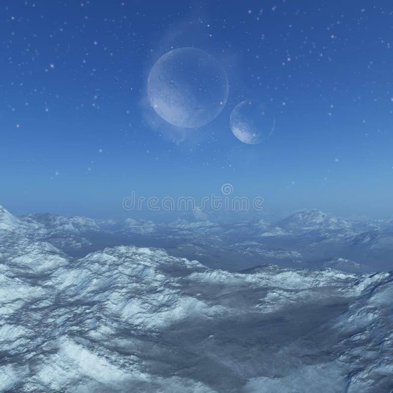 3d odpłacająca się Astronautyczna sztuka: Zamarznięta Obca planeta - fantazja krajobraz royalty ilustracja
