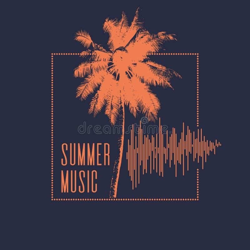 3d odpłacająca się lato ilustracyjna muzyka Nowożytny plakat z drzewkiem palmowym royalty ilustracja
