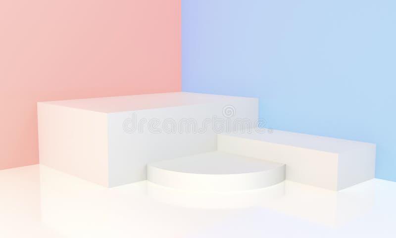 3d odpłacający się - Biały podium dla pokazu ilustracja wektor