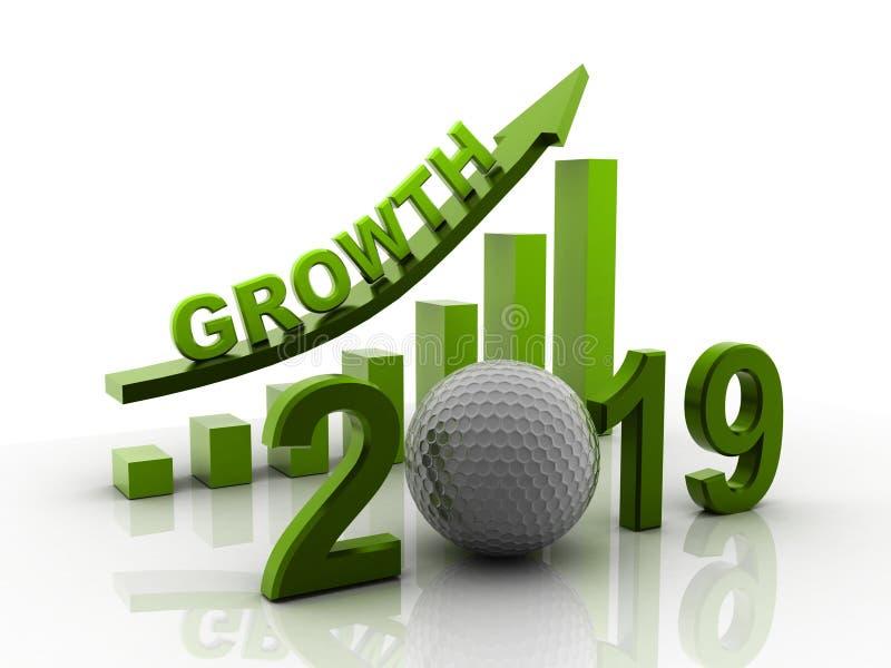 3d odpłacający się Biznesowy wykres z czerwoną strzałą w górę, reprezentuje przyrosta w roku 2019 Biznesowy przyrost odizolowywaj royalty ilustracja