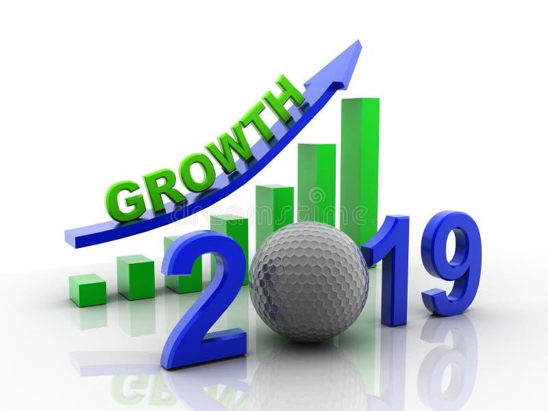 3d odpłacający się Biznesowy wykres z czerwoną strzałą w górę, reprezentuje przyrosta w roku 2019 Biznesowy przyrost odizolowywaj ilustracji