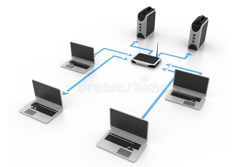 3d odpłacający się sieć komputerowa obrazek royalty ilustracja