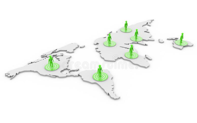 3d odp?aca? si? Globalnego biznesu sieci poj?cie odizolowywa na bia?ym tle royalty ilustracja