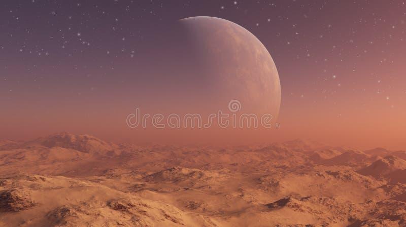 3d odp?acaj?ca si? Astronautyczna sztuka: Obca planeta - fantazja krajobraz ilustracji