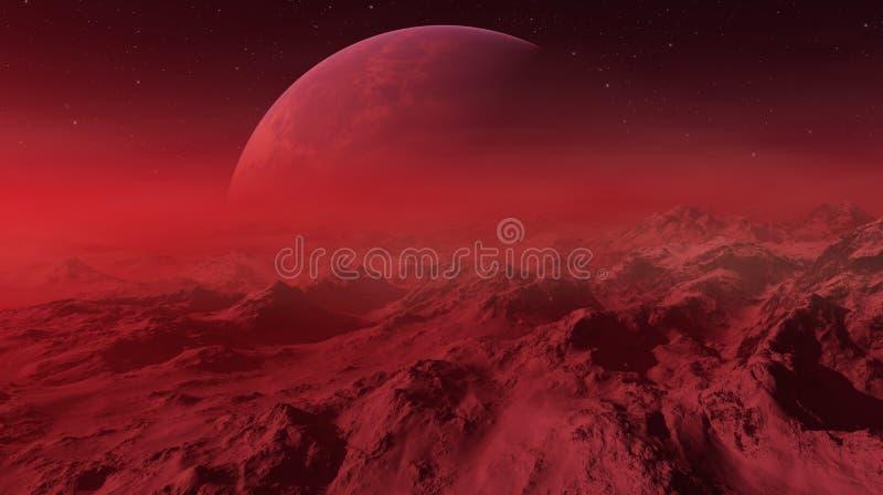 3d odp?acaj?ca si? Astronautyczna sztuka: Obca planeta - fantazja krajobraz z czerwonymi niebami i gwiazdami ilustracja wektor