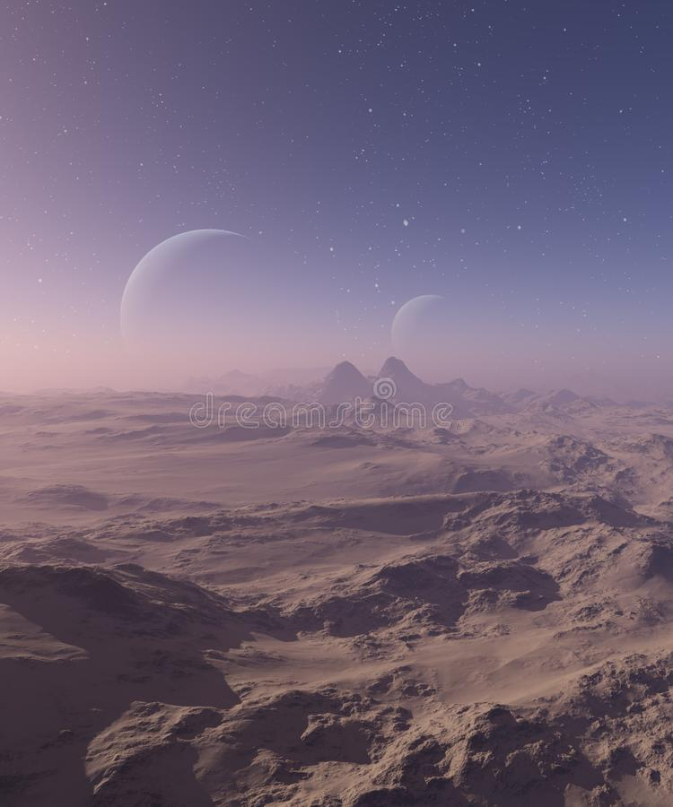 3d odp?acaj?ca si? Astronautyczna sztuka: Obca planeta - fantazja krajobraz z niebieskimi niebami i chmurami ilustracji