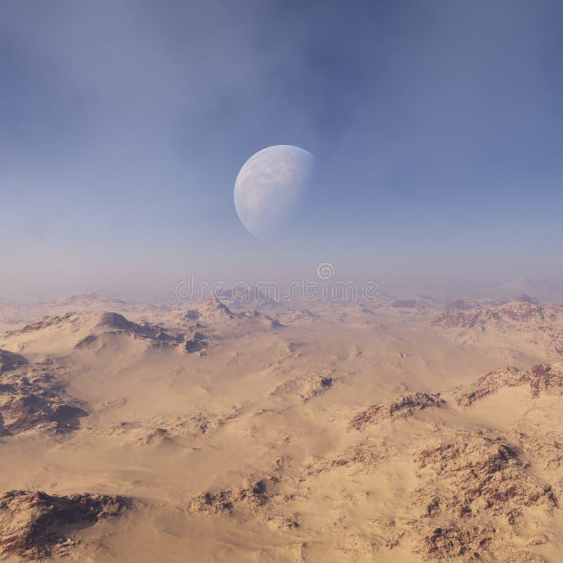3d odp?acaj?ca si? Astronautyczna sztuka: Obca planeta - fantazja krajobraz z niebieskimi niebami i chmurami royalty ilustracja