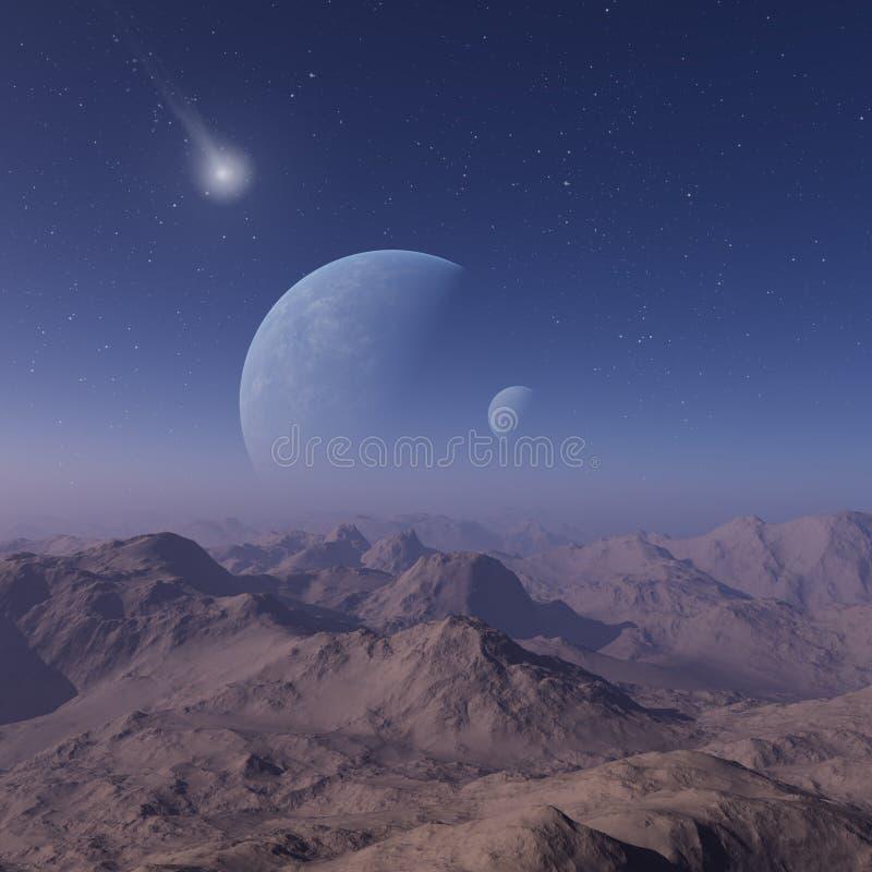 3d odp?acaj?ca si? Astronautyczna sztuka: Obca planeta - fantazja krajobraz z niebieskimi niebami i chmurami ilustracja wektor