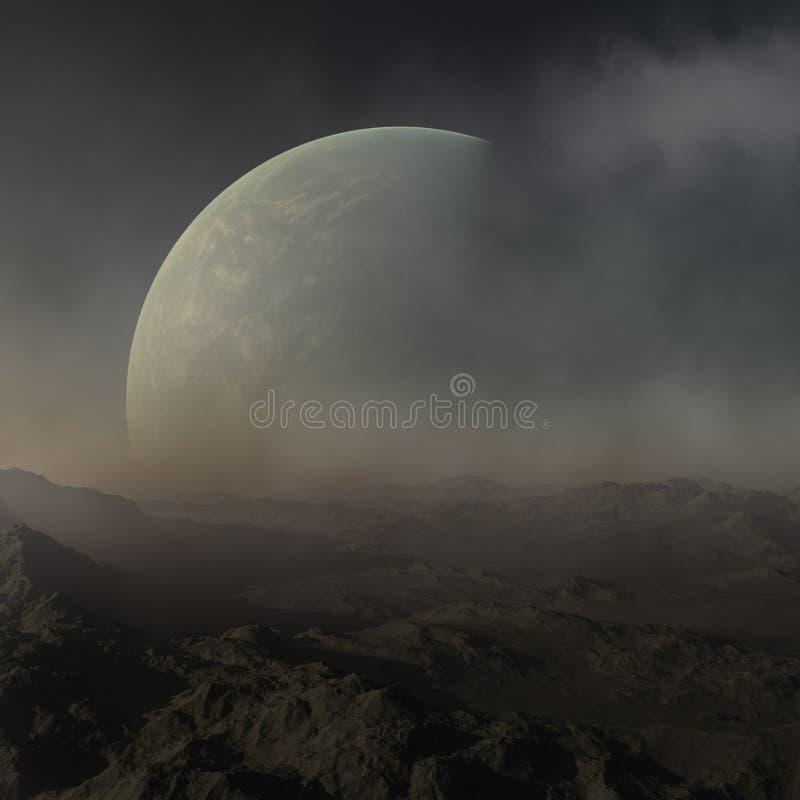 3d odp?acaj?ca si? Astronautyczna sztuka: Obca planeta - fantazja krajobraz z niebieskimi niebami i gwiazdami ilustracja wektor
