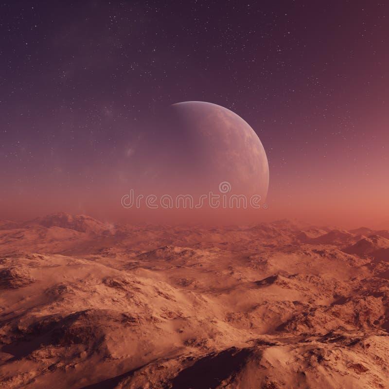 3d odp?acaj?ca si? Astronautyczna sztuka: Obca planeta - fantazja krajobraz z purpurowymi niebami i gwiazdami ilustracji