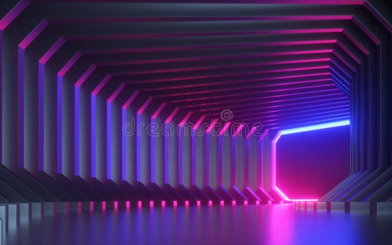 3d odp?acaj? si?, abstrakcjonistyczny neonowy t?o, korytarz, tunel, rzeczywisto?? wirtualna ekran, pozafioletowy widmo, laserowy  royalty ilustracja
