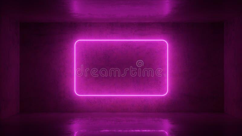 3d odp?acaj? si? neonowa rama na tle w pokoju Sztandaru projekt Retrowave, synthwave, vaporwave ilustracja ilustracja wektor