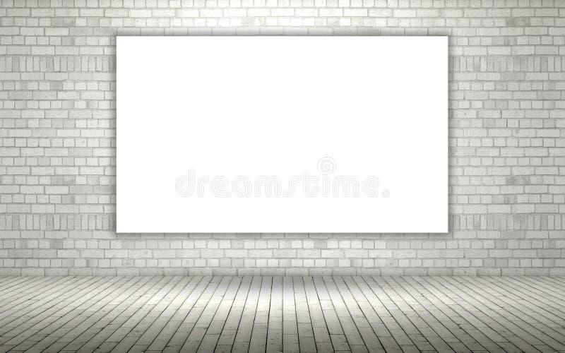 3D odsłonięty ściana z cegieł z pustą kanwą ilustracja wektor