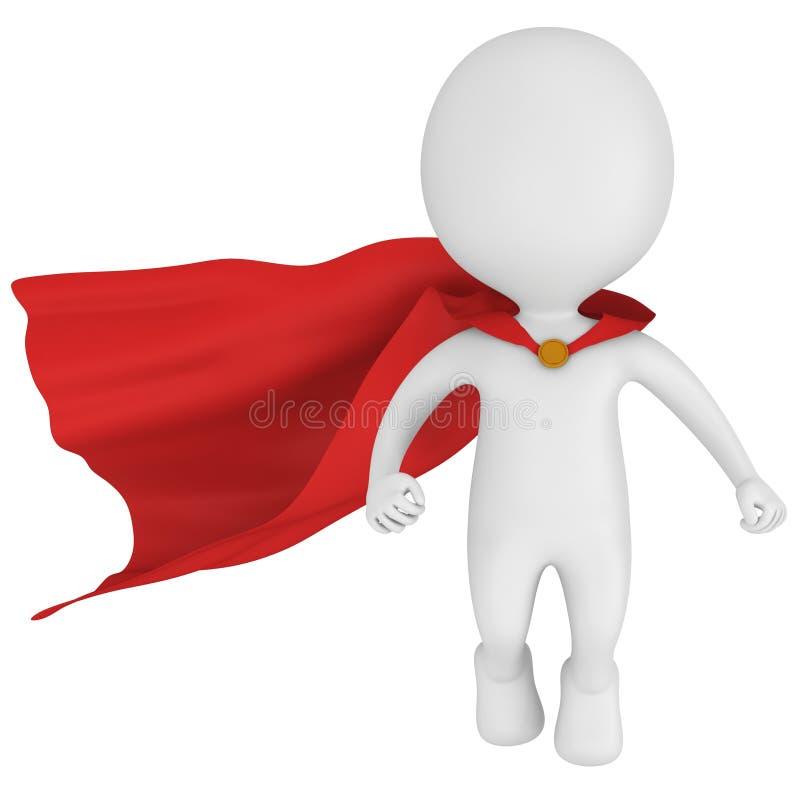 3d odważny bohater z czerwoną peleryną levitate above royalty ilustracja