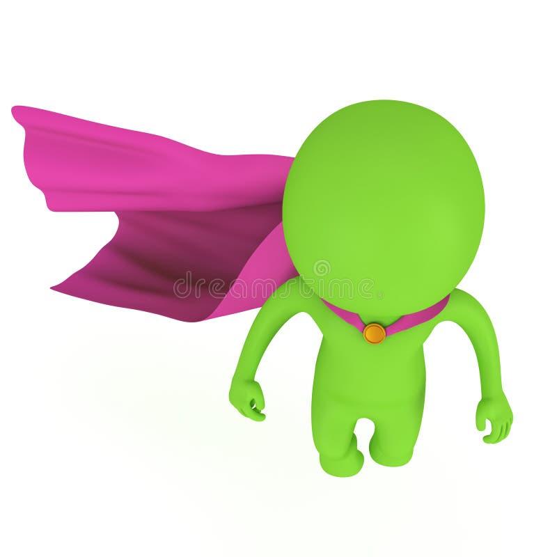 3d odważny bohater z purpurową peleryną levitate above ilustracji