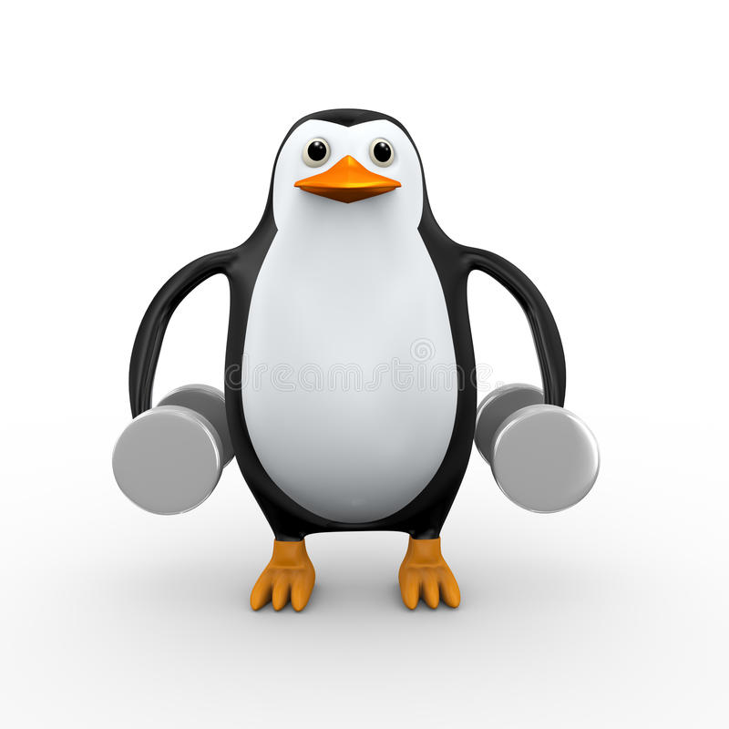 3d oefening van pinguïn stomme klokken vector illustratie