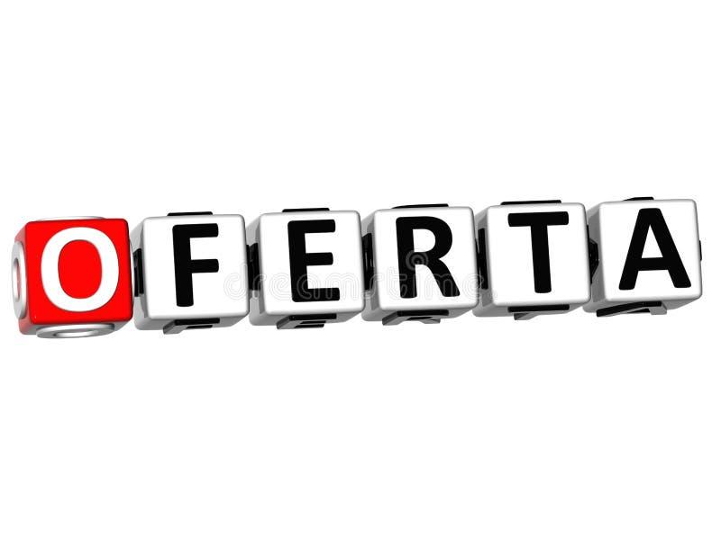 3D Oferta Block Text on white background vector illustration