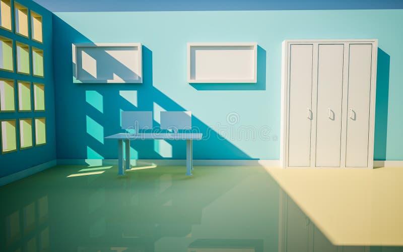 3d office render sunny day. stock illustration