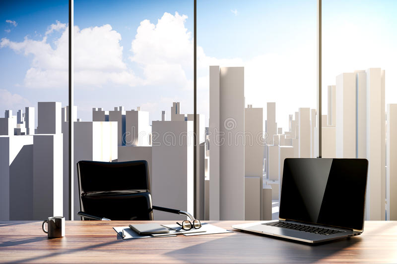 3d office workplace with skyline in the background. Workplace setup royalty free illustration