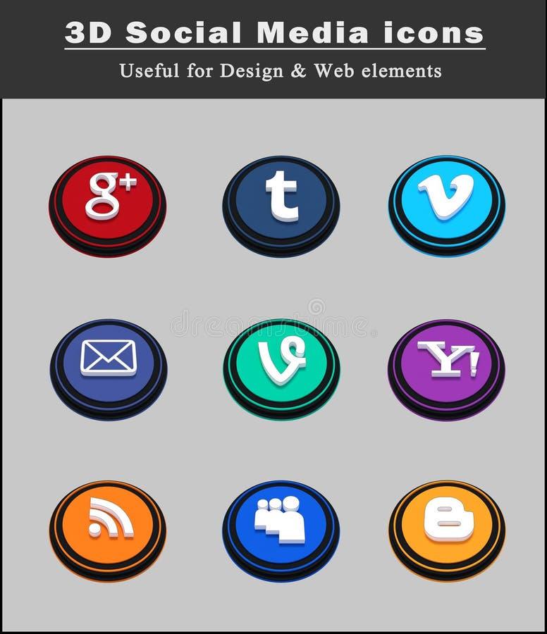 3d 2 ogólnospołeczne medialne ikony royalty ilustracja