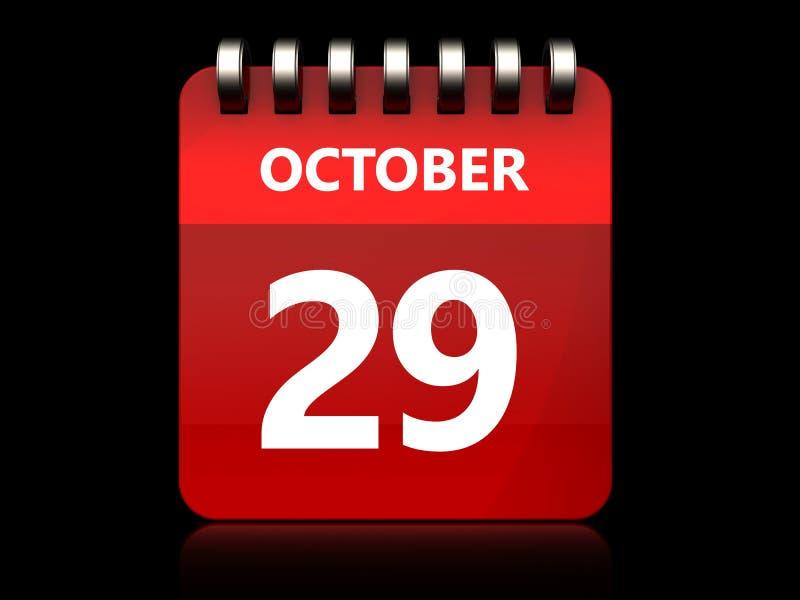 3d 29 oktober-kalender vector illustratie