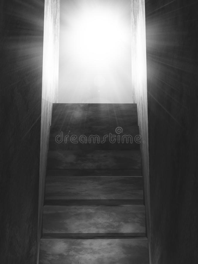 3D old concrete stairs leading to an open door with sun rays vector illustration