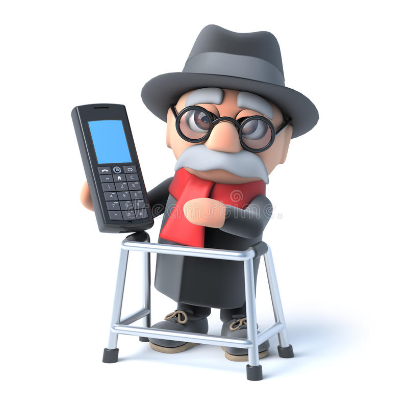 3d Old Man With Walking Frame Chats On Cellphone Stock Illustration ...