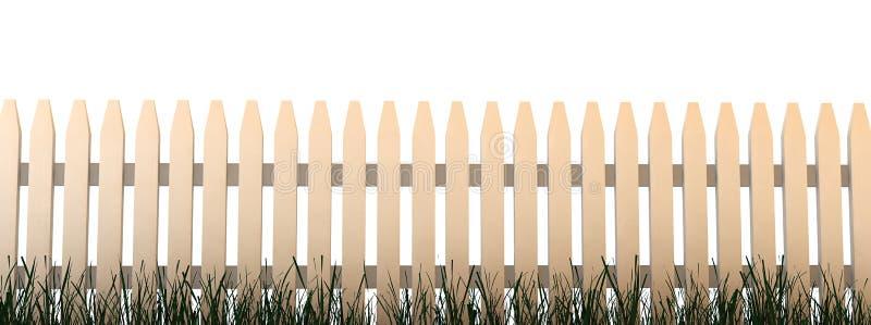 3d: Omheining met Gras en Witte Achtergrond stock illustratie