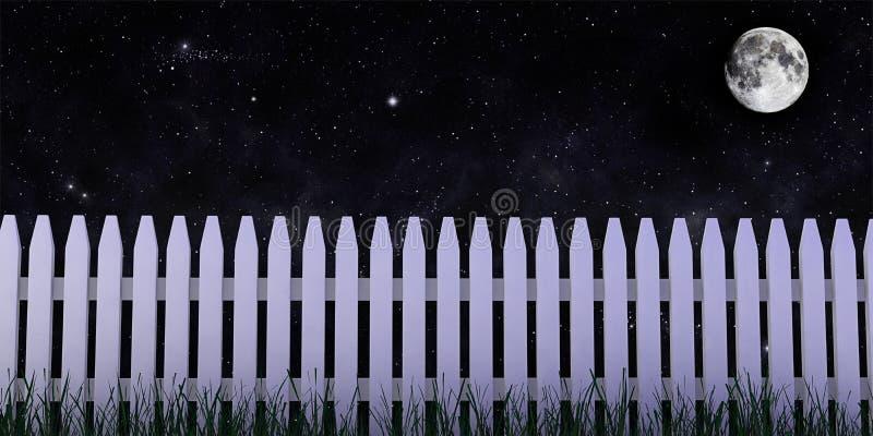 3d: Omheining met Maan bij Nacht vector illustratie