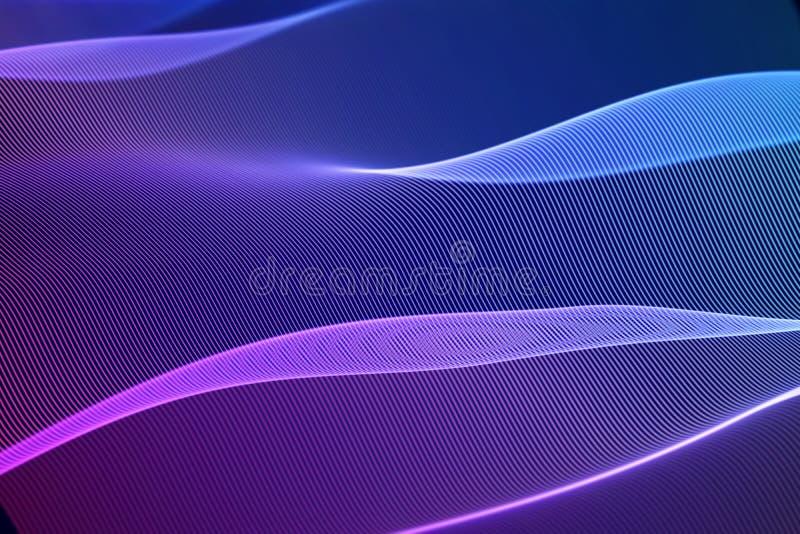 3D onde sonore, audio equalizzatore visivo Grande visualizzazione dell'estratto di dati illustrazione vettoriale