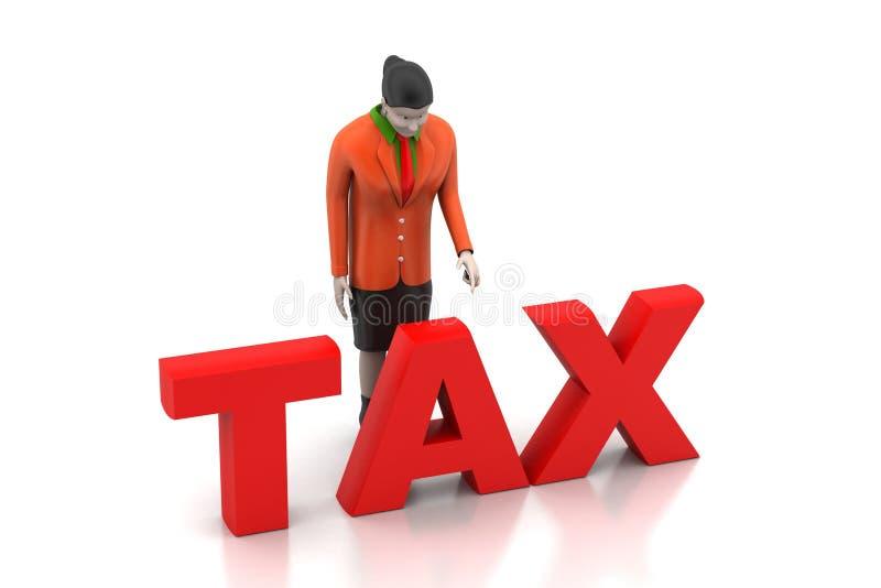 3d onderneemster die belasting kijken royalty-vrije illustratie