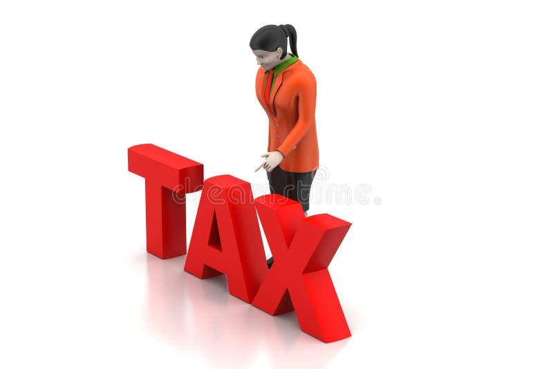 3d onderneemster die belasting kijken vector illustratie