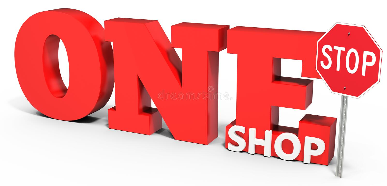 Unique 3d one stop shop sign stock illustration. Illustration of object  XA13