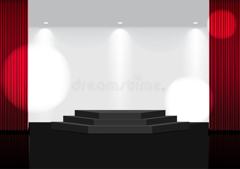 3D Onechte omhoog Realistische Open Rode Gordijn op Stadium of de Bioskoop voor toont, overlegt of Presentatie met Schijnwerper a stock fotografie