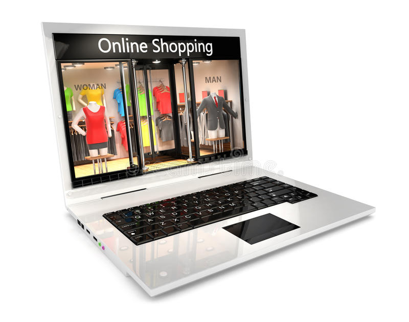 3d online shopping concept. Isolated white background, 3d image vector illustration