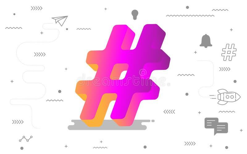 3D online sociale media van Hashtag met digitaal sociaal pictogram Vector illustratie vector illustratie