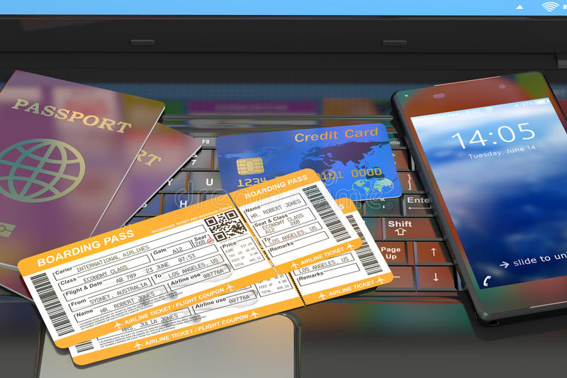 3d Online travel tickets booking on laptop. Online travel tickets booking on laptop vector illustration