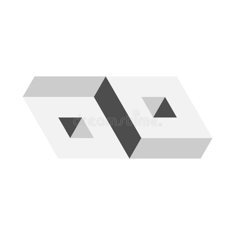 3D onmogelijk voorwerp Geometrisch 3D blok Optische illusie Vector illustratie stock illustratie