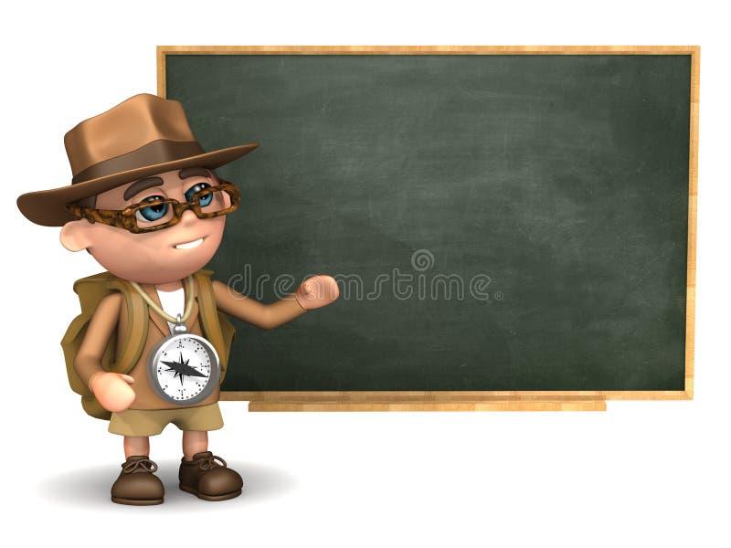 3d Ontdekkingsreiziger bij het bord stock illustratie