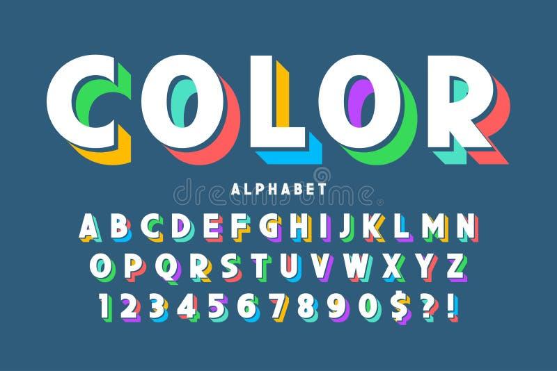 3d ontwerp, het alfabet, de letters en de getallen van de vertoningsdoopvont vector illustratie