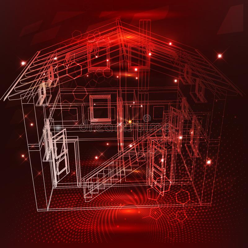 3d ontwerp Slim huis Internet van het comfort en de veiligheids de isometrische affiche van het stroomschemapictogram van de ding royalty-vrije illustratie